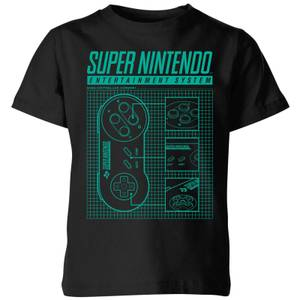 Nintendo SNES Blueprint Kid's T-Shirt - Black