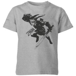 Nintendo The Legend Of Zelda Link Kid's T-Shirt - Grey