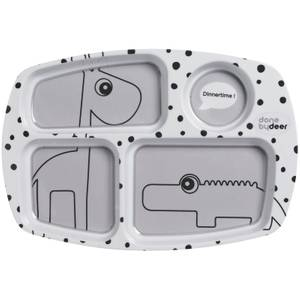 Done by Deer Happy Dots Compartment Plate - Grey