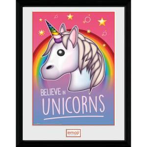 Emoji Believe in Unicorns 12 x 16 Inches Framed Photograph