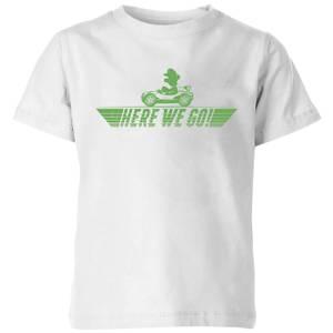 Nintendo Mario Kart Here We Go Luigi Kid's T-Shirt - White