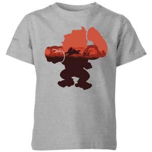 任天堂大金刚剪影塞伦盖蒂儿童T恤-灰色。