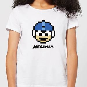 Mega Man Pixel Face Women's T-Shirt - White