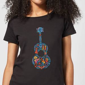 Coco Guitar Pattern Women's T-Shirt - Black
