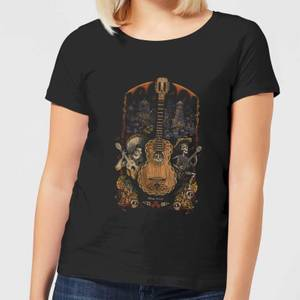 T-Shirt Femme Affiche Guitare Coco - Noir