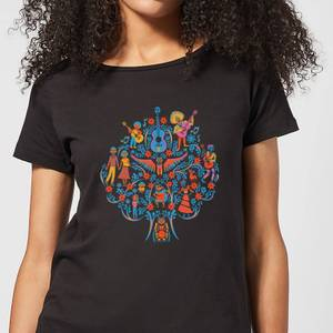 Coco Tree Pattern Women's T-Shirt - Black