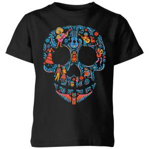 Coco Skull Pattern Kids' T-Shirt - Black