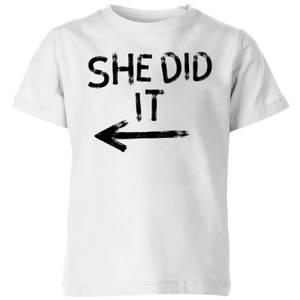 My Little Rascal She Did It Kids' T-Shirt - White