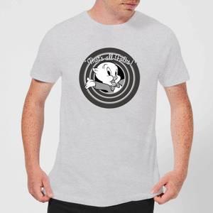 Looney Tunes That's All Folks Porky Pig Men's T-Shirt - Grey
