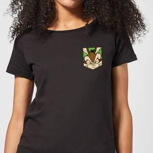 Looney Tunes Wile E Coyote Face Faux Pocket Women's T-Shirt - Black