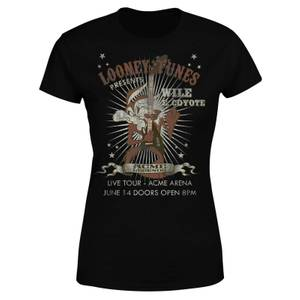 Looney Tunes Wile E Coyote Guitar Arena Tour Women's T-Shirt - Black