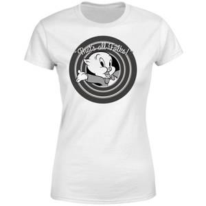 T-Shirt Femme That's All Folks ! Porky Pig Looney Tunes - Blanc