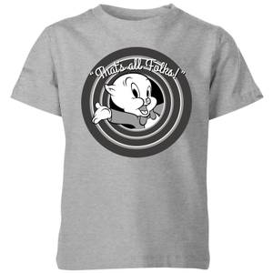Looney Tunes That's All Folks Porky Pig Kids' T-Shirt - Grey