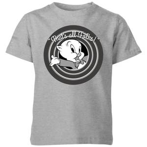 T-Shirt Enfant That's All Folks ! Porky Pig Looney Tunes - Gris