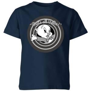 T-Shirt Enfant That's All Folks ! Porky Pig Looney Tunes - Bleu Marine