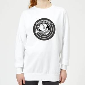 Looney Tunes That's All Folks Porky Pig Women's Sweatshirt - White