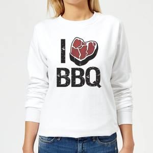 I Love BBQ Women's Sweatshirt - White