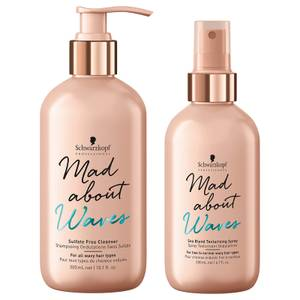 Schwarzkopf Professional Mad About Waves Sulfate Free Cleanser + Sea Blend Texturizing Spray