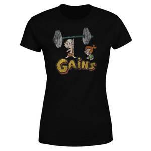 T-Shirt Femme La Famille Pierrafeu Bamm-Bamm Muscu - Effet Abîmé - Noir