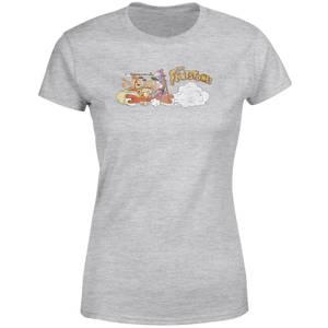 The Flintstones Family Car Distressed Dames T-shirt - Grijs