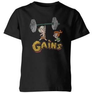 The Flintstones Distressed Bam Bam Gains Kids' T-Shirt - Black