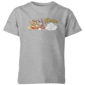The Flintstones Family Car Distressed Kids' T-Shirt - Grey