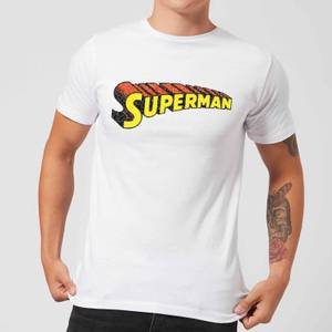 DC Superman Telescopic Crackle Logo Herren T-Shirt - Weiß