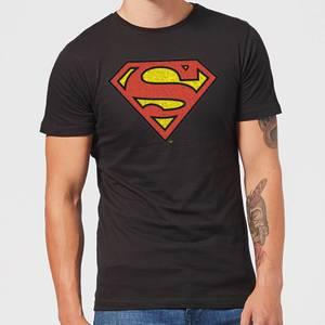 T-Shirt Homme Logo Superman Craquelé DC Comics - Noir