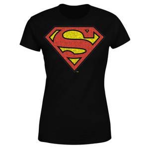 DC Originals Official Superman Crackle Logo Women's T-Shirt - Black