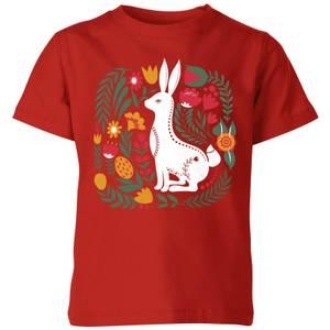 My Little Rascal Scandi Rabbit Pattern Kids' T-Shirt - Red