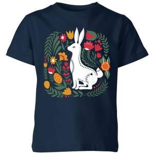 My Little Rascal Scandi Rabbit Pattern Kids' T-Shirt - Navy