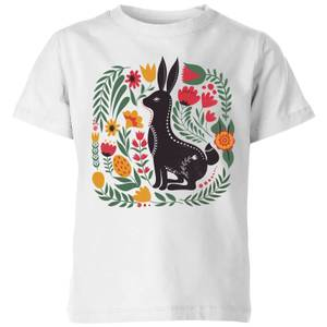 My Little Rascal Scandi Rabbit Pattern Kids' T-Shirt - White