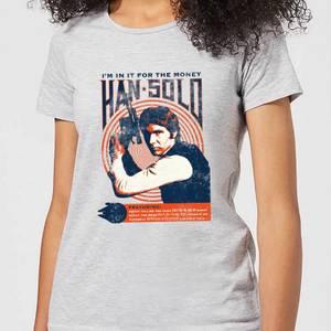 T-Shirt Femme Han Solo Star Wars Affiche Rétro - Gris