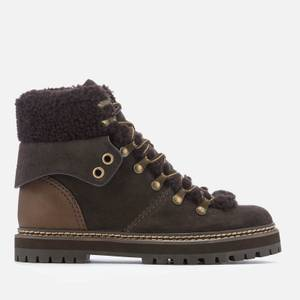 See By Chloé Women's Suede/Shearling Lined Hiking Styled Boots - Graphite/Natural