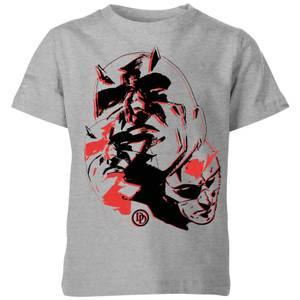 Marvel Knights Daredevil Layered Faces Kids' T-Shirt - Grey