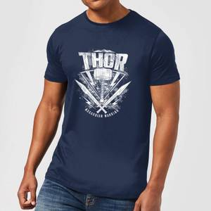 T-Shirt Homme Marvel - Thor Ragnarok - Logo du Marteau de Thor - Bleu Marine