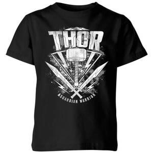 T-Shirt Enfant Marvel - Thor Ragnarok - Logo du Marteau de Thor - Noir