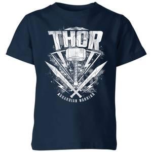 T-Shirt Enfant Marvel - Thor Ragnarok - Logo du Marteau de Thor - Bleu Marine