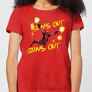 Marvel Deadpool Suns Out Guns Out Women's T-Shirt - Red