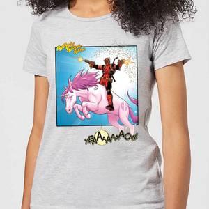 T-Shirt Femme Deadpool Chevauche une Licorne Marvel - Gris