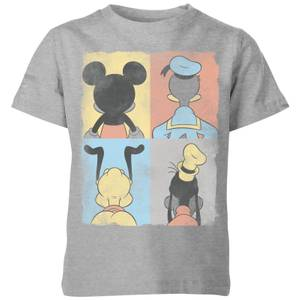 Disney Donald Duck Mickey Mouse Pluto Goofy Tiles Kids' T-Shirt - Grey
