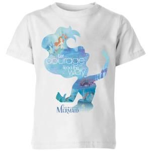 Disney Princess Filled Silhouette Ariel Kids' T-Shirt - White