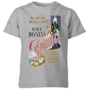 Disney Disney Princess Cinderella Retro Poster Kids' T-Shirt - Grey
