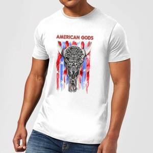 T-Shirt Homme American Gods Tête de Mort et Drapeau Américain - Blanc