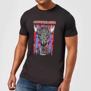 T-Shirt Homme American Gods Tête de Mort et Drapeau Américain - Noir