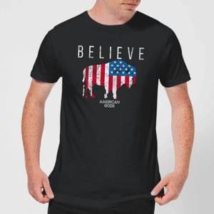 T-Shirt Homme American Gods Bison Drapeau Américain - Noir