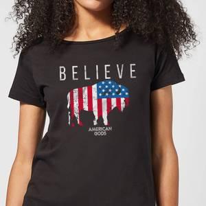 T-Shirt Femme American Gods Bison Drapeau Américain - Noir