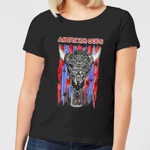 T-Shirt Femme American Gods Tête de Mort et Drapeau Américain - Noir