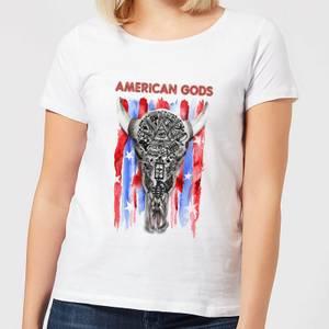 T-Shirt Femme American Gods Tête de Mort et Drapeau Américain - Blanc