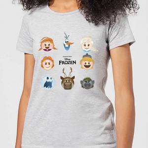 Disney Frozen Emoji Heads Women's T-Shirt - Grey